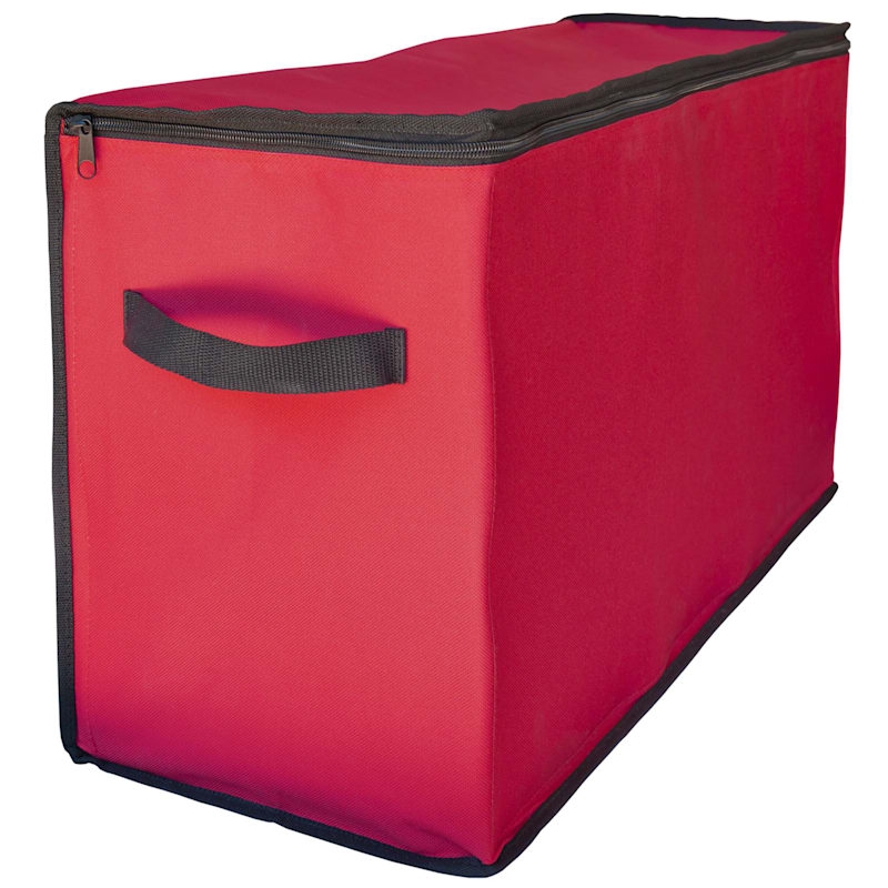 96-Compartment Christmas Ornament Storage Box, Red