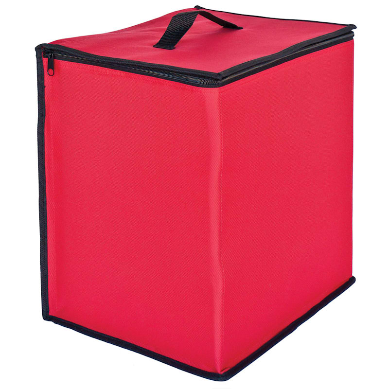 48-Compartment Christmas Ornament Storage Box, Red