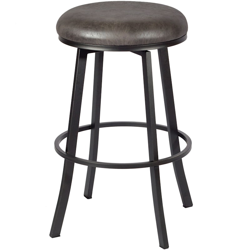 Jen Palance Grey Metal Swivel Barstool & Faux Leather Upholstered Seat
