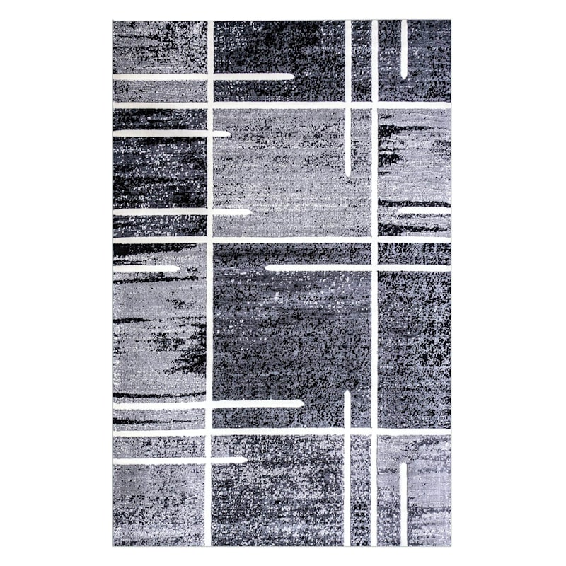 B324 Grey Abstract Square Rug- 5x7 ft