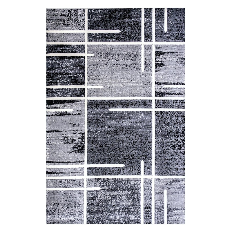 B324 Grey Abstract Square Rug- 7x10 ft