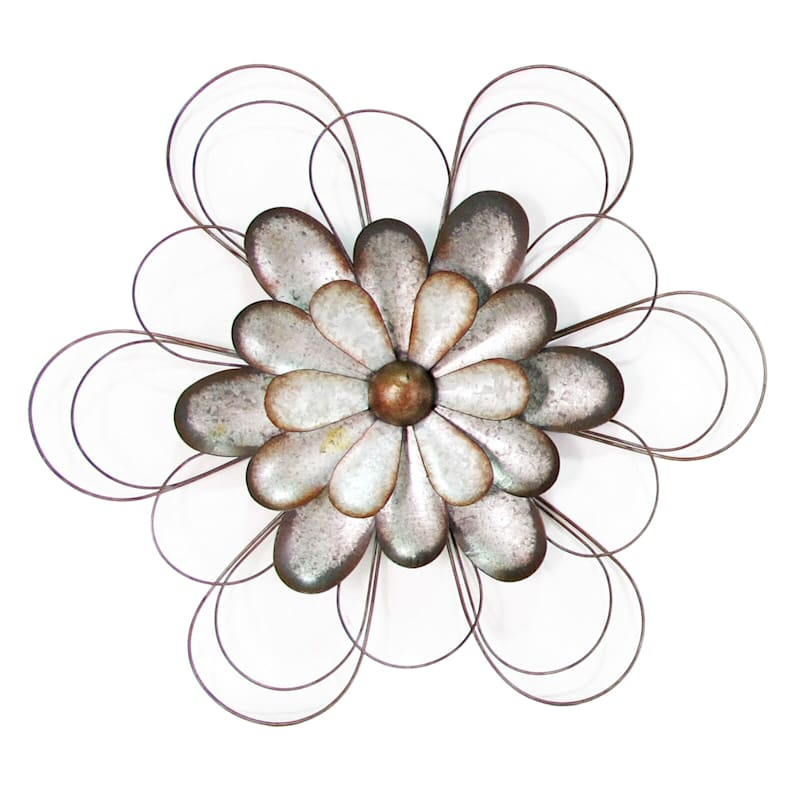 24X21 Metal Galvanized Medium Flower Wall Art