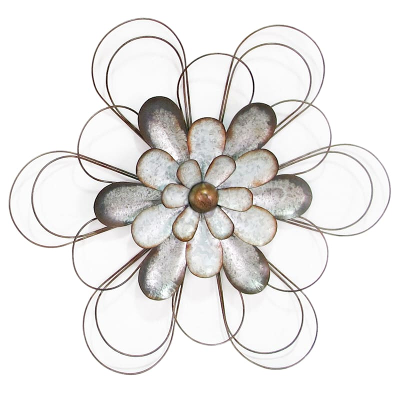 20X18 Metal Galvanized Small Flower Wall Art