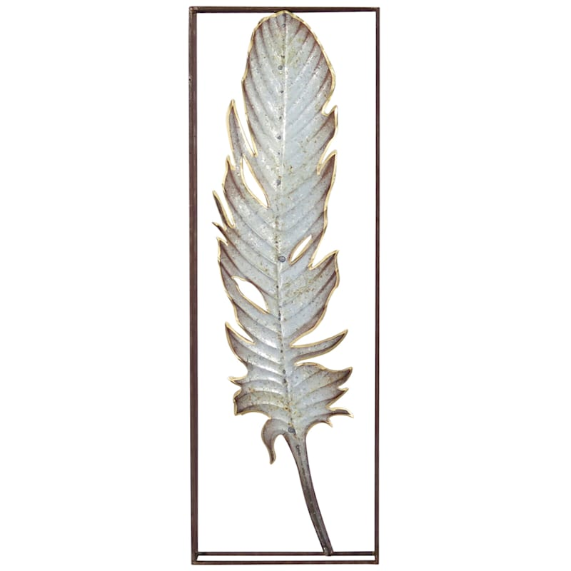 12X36 Metal Galvanized Rectangle Feather Wall Art