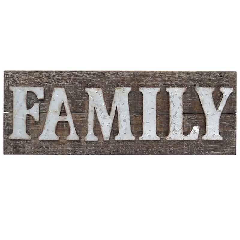 22X8 Metal/Wood Rectangle Family Sign Wall Art