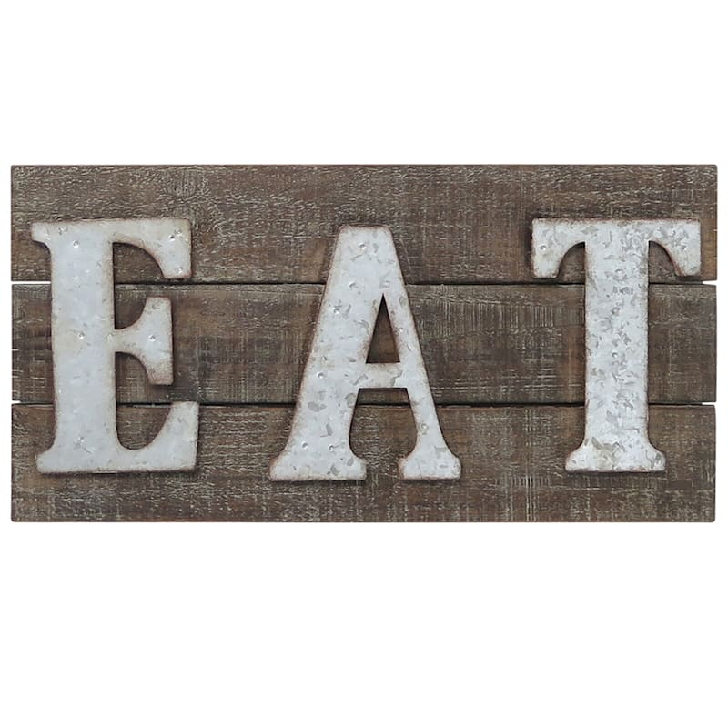 20X10 Metal/Wood Rectangle Eat Sign Wall Art