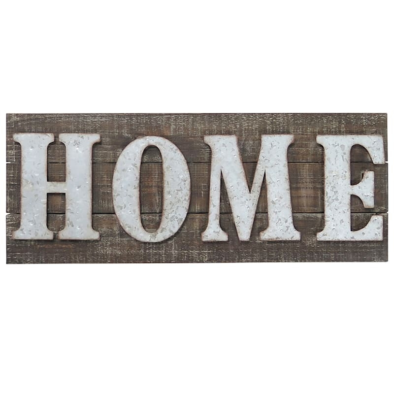 26X10 Metal/Wood Rectangle Home Sign Wall Art