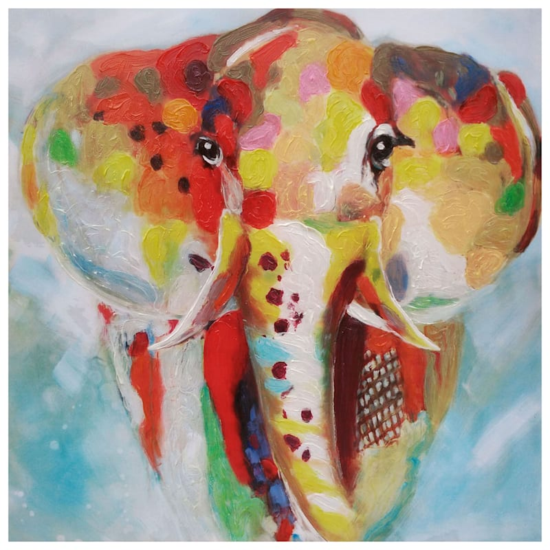 20X20 Colorful Elephant Canvas