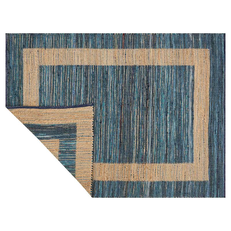 (B313) Henning Hand Woven Cotton Blend Dark Blue Chindi Area Rug, 5x7