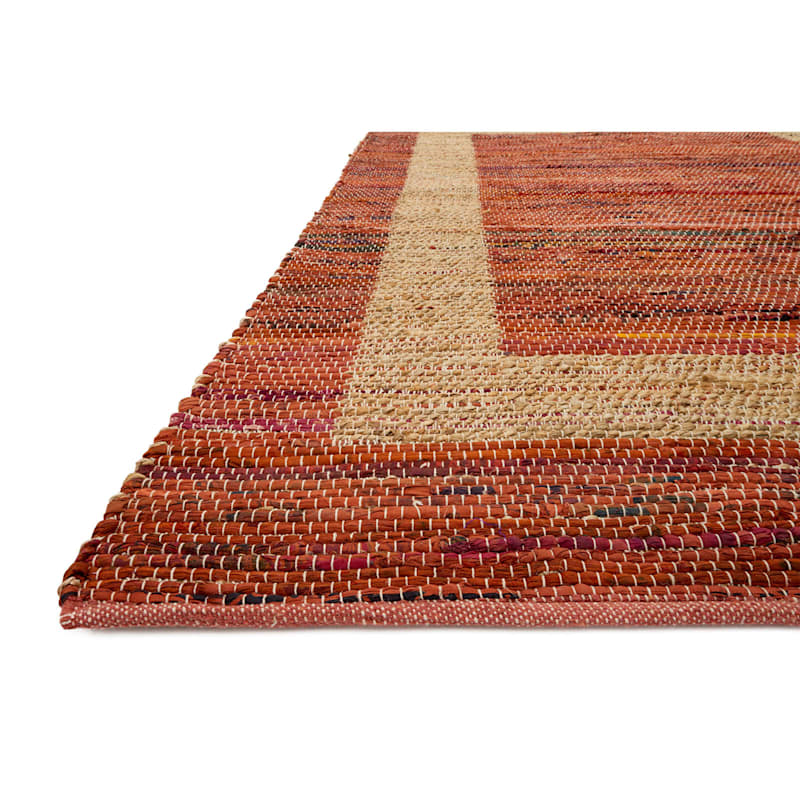 B314 Red Jute and Cotton Rug- 5x7 ft