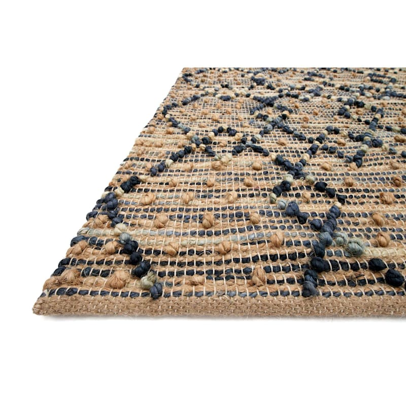 (B317) Lagos Knot Navy Hand Woven Jute Area Rug, 5x7
