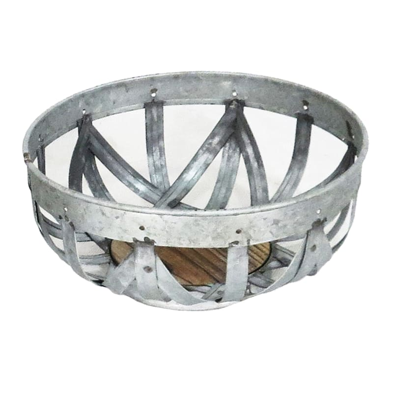 Round Galvanized Bowl With Wooden Base - 10in.