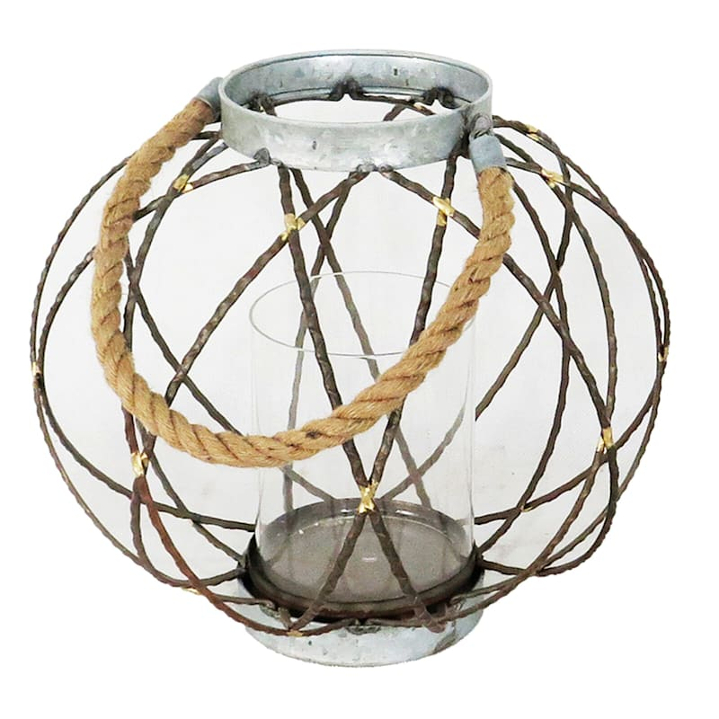 Metal Ring And Glass Lantern With Rope Handle 12in. High