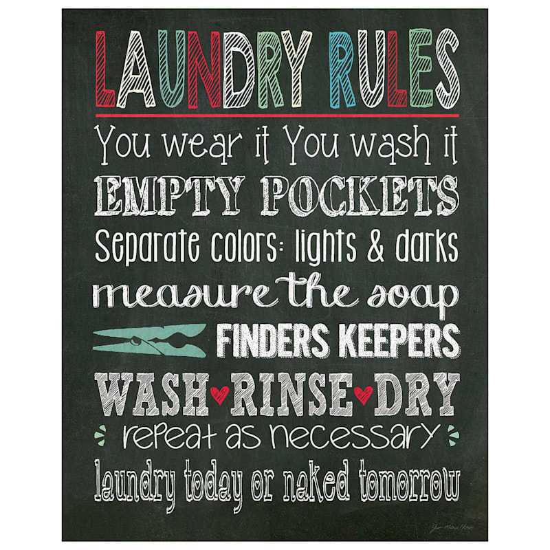 16X20 Laundry Room Rules Canvas Wall Art