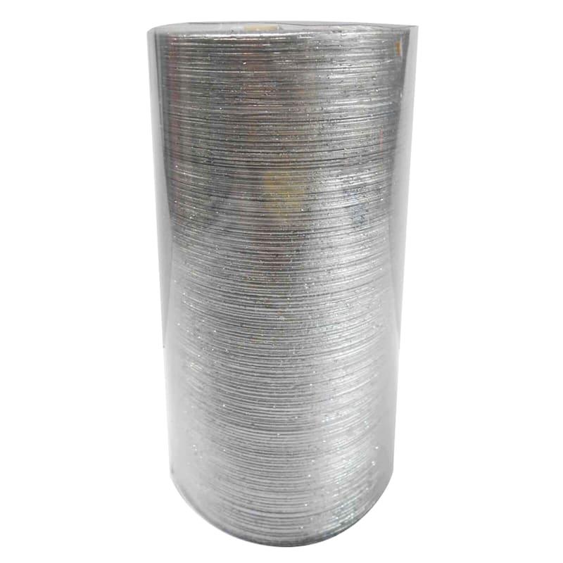 3X6 Spun Glitter Pillar Candle Metallic Silver