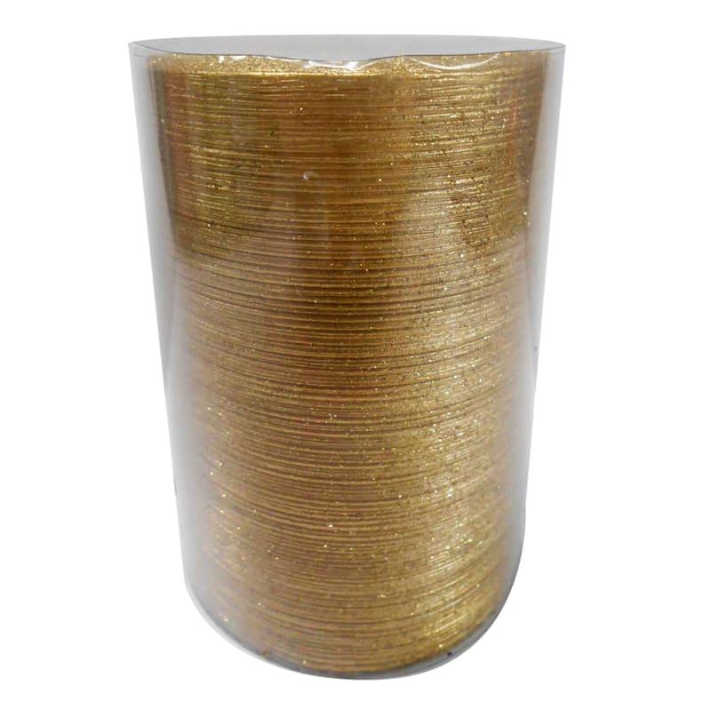 3X4 Spun Glitter Pillar Candle Metallic Gold