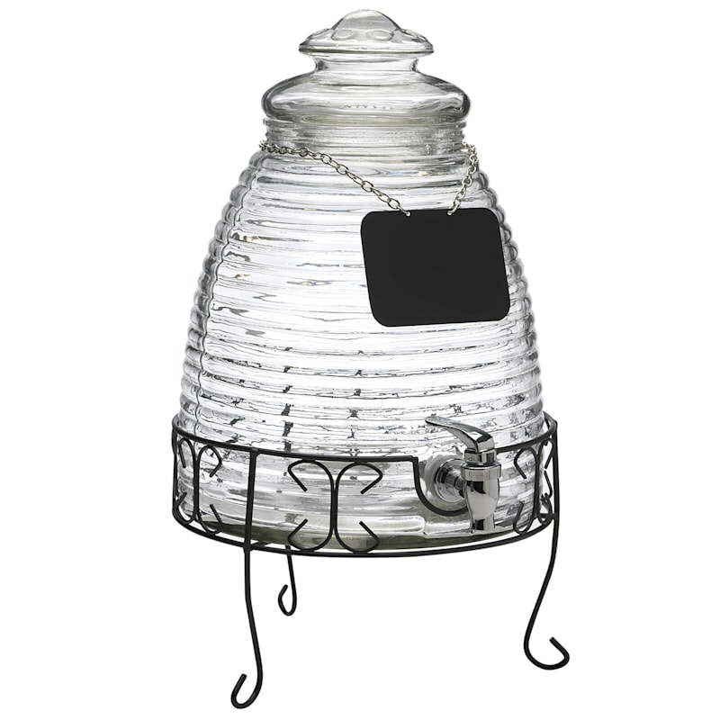 2.3 G Beehive Drink Dispenser/Chalk Board Necklace On A Metal Stand