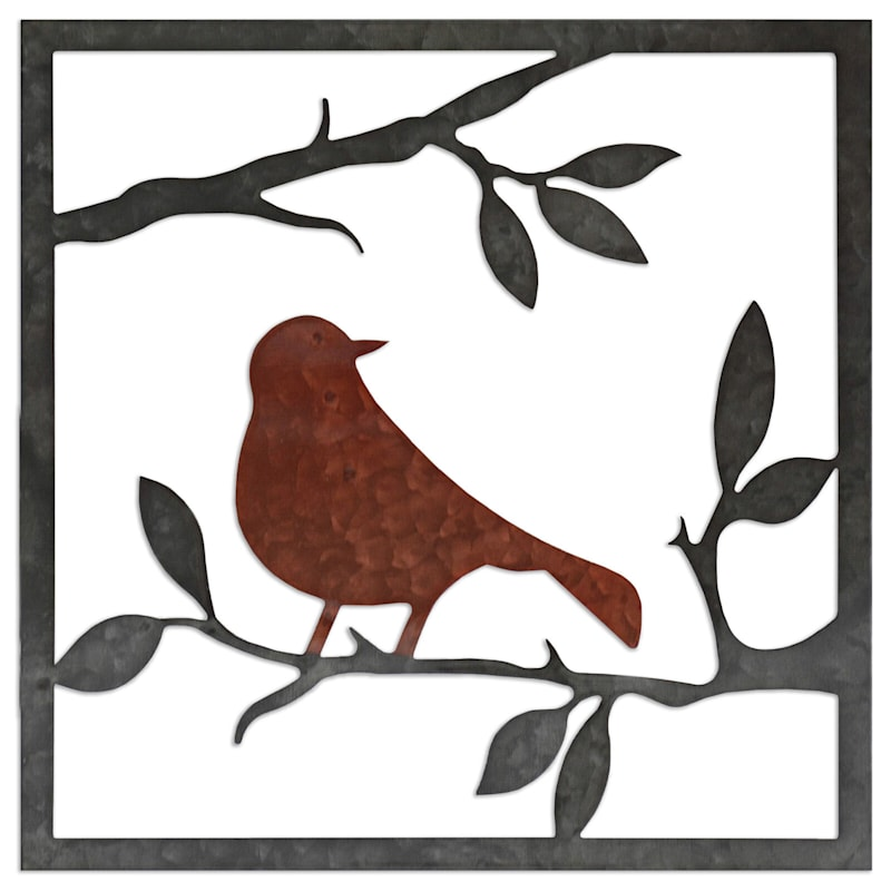 12X12 Metal Bird Square