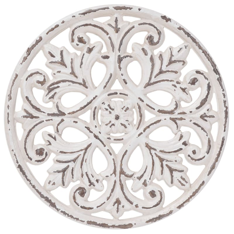 12X12 Whitewash Metal Embossed Medallion