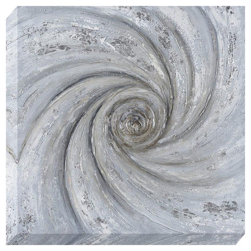 40X40 Silver Swirl Enhanced Metallic Canvas