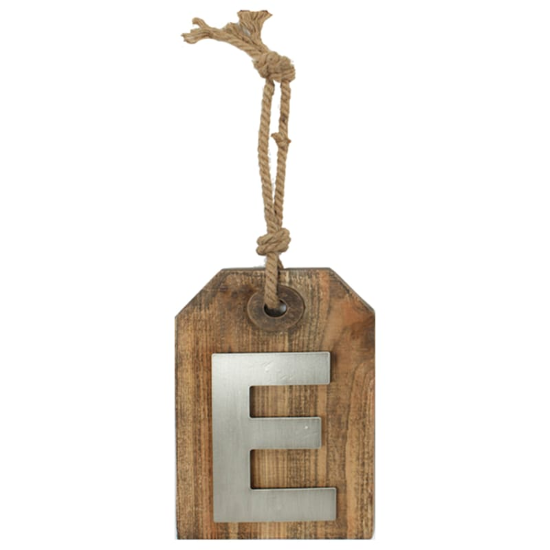 5X8 Hanging Wood With Metal Letter E