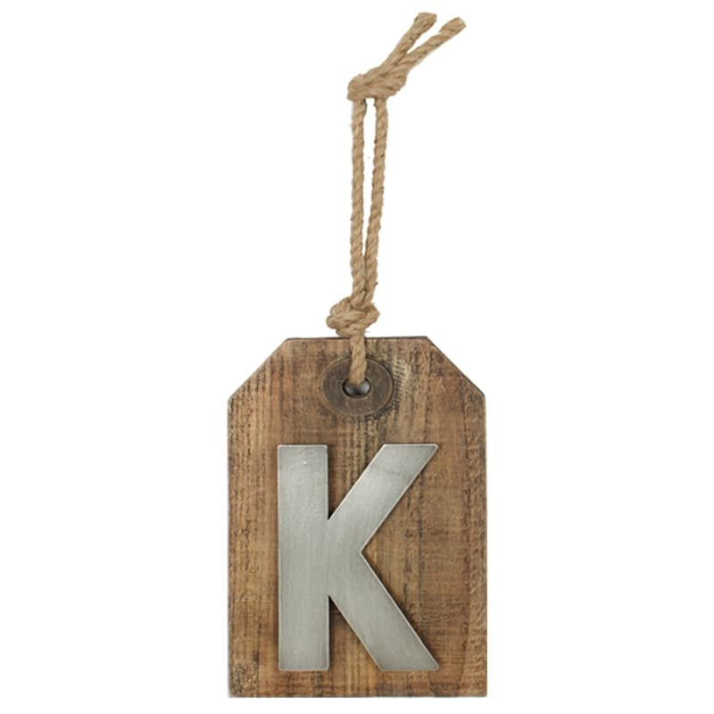 5X8 Hanging Wood With Metal Letter K