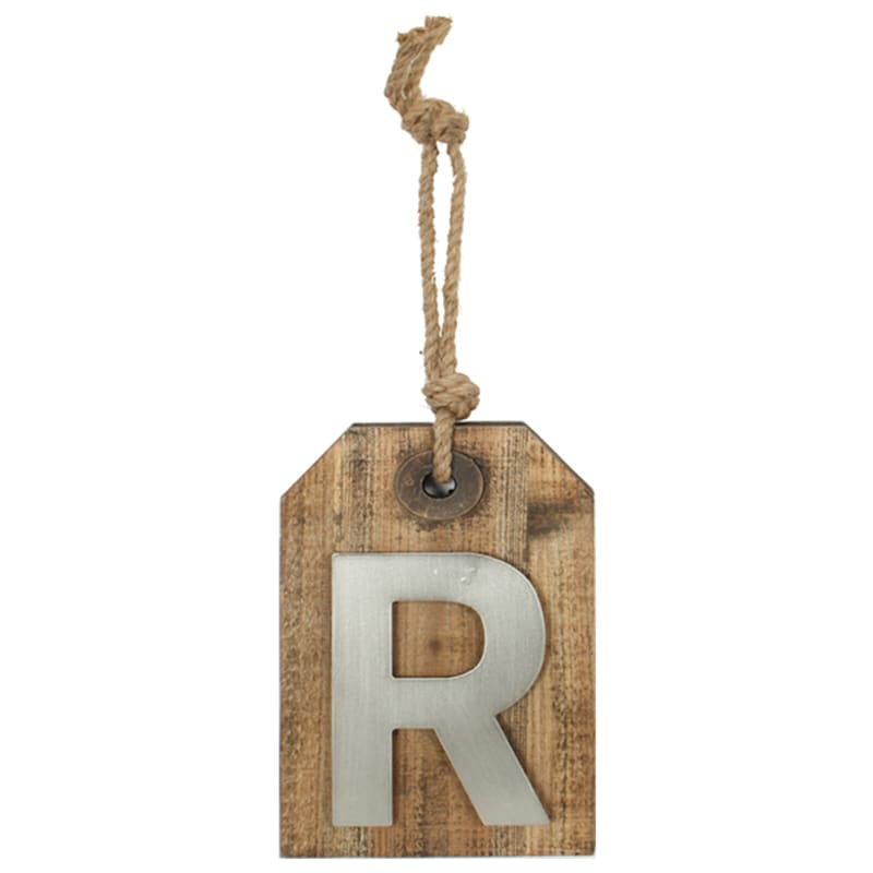 5X8 Hanging Wood With Metal Letter R