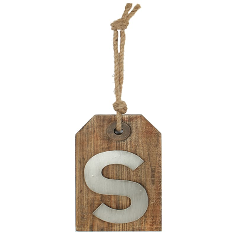 5X8 Hanging Wood With Metal Letter S