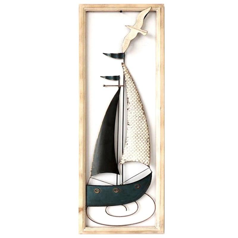12X36 Metal Boat Wall Art