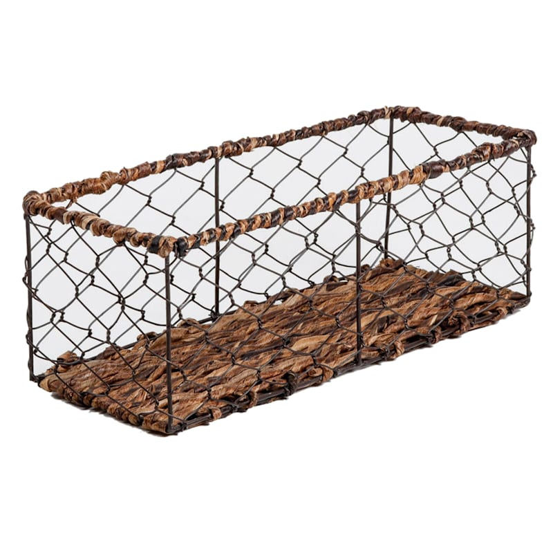 Low Chicken Wire Abaca Wrap Rectangular Basket
