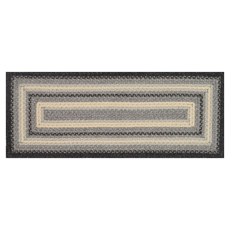(D322) Lucius Grey Braid Runner, 2x5
