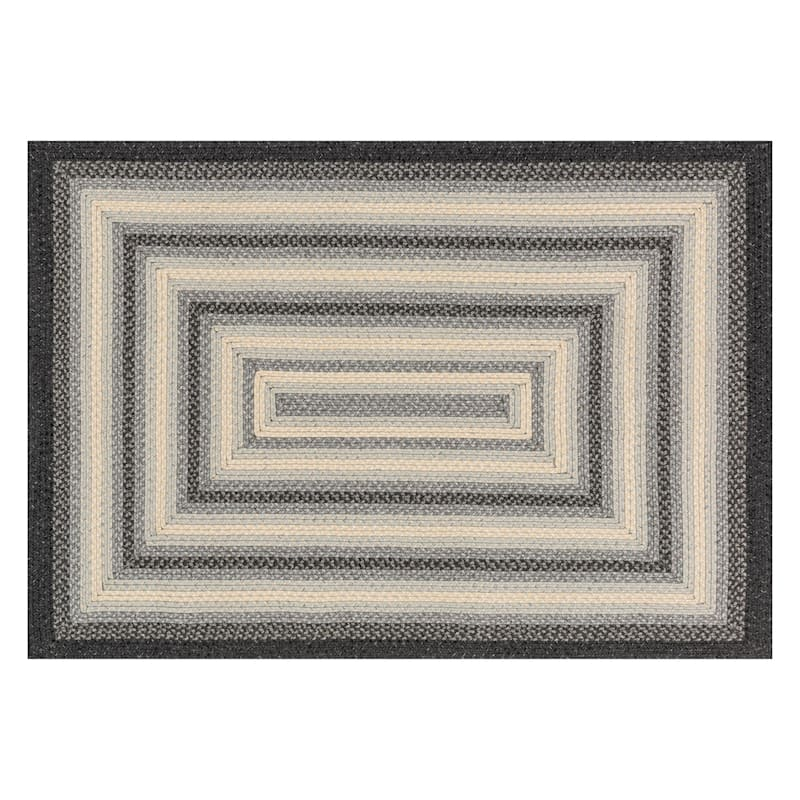 (D322) Lucius Grey Braid Area Rug, 8x10