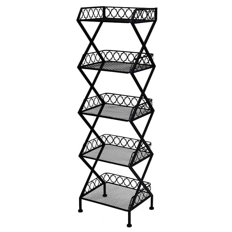 Black 5 Tier Metal Shelf