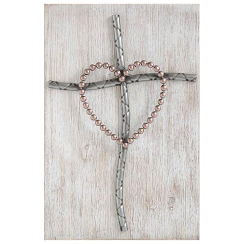7X12 Metal Cross On Wood Plaque