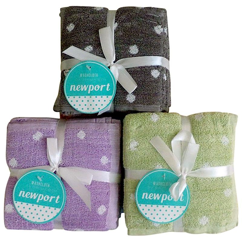 6-Pack Newport Polka Dot Washcloth