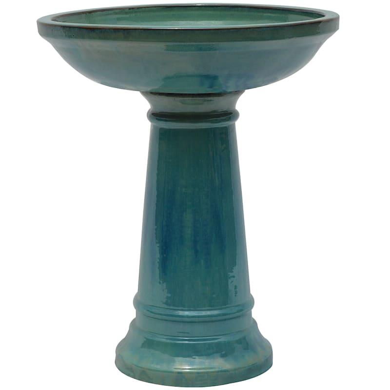 Beauly Ceramic Birdbath 22.8in. Green
