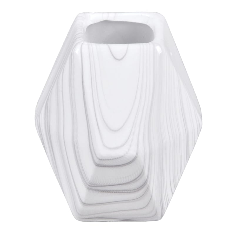 4X4 Geometric Ceramic White Marble Vase