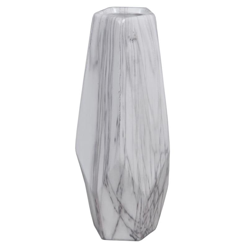 4X11 Geometric Ceramic White Marble Vase