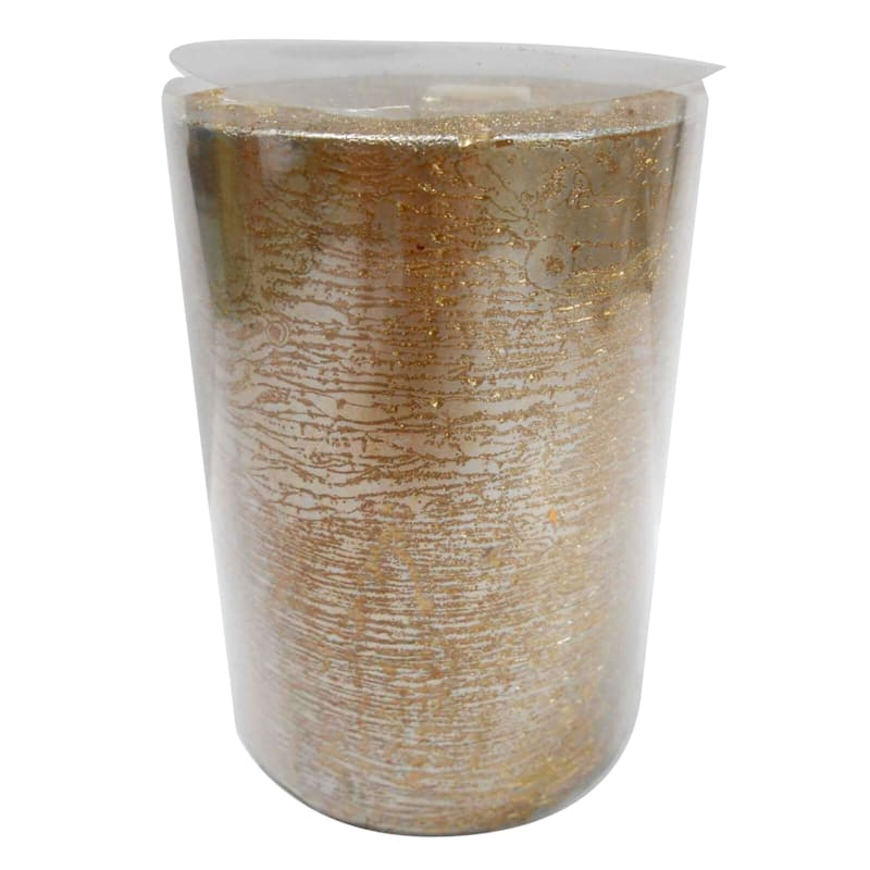 Silver and Gold Pillar Candle - 3x4 in.