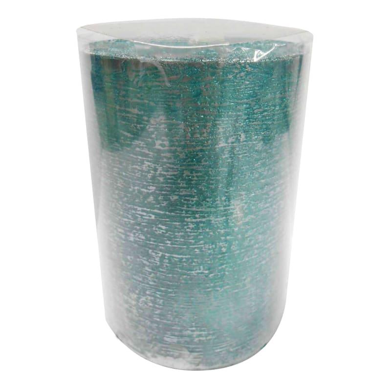 3X4 Distressed Pillar Candle Metallic Teal/Silver