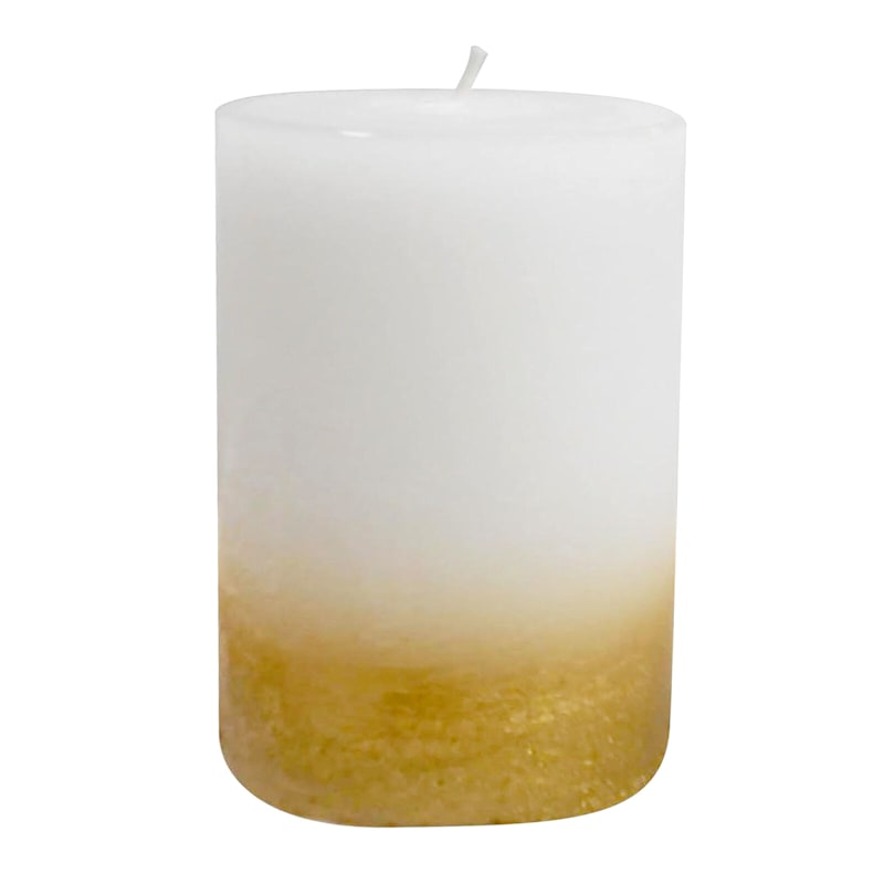 3X4 Distressed Ombre Pillar Candle White/Gold