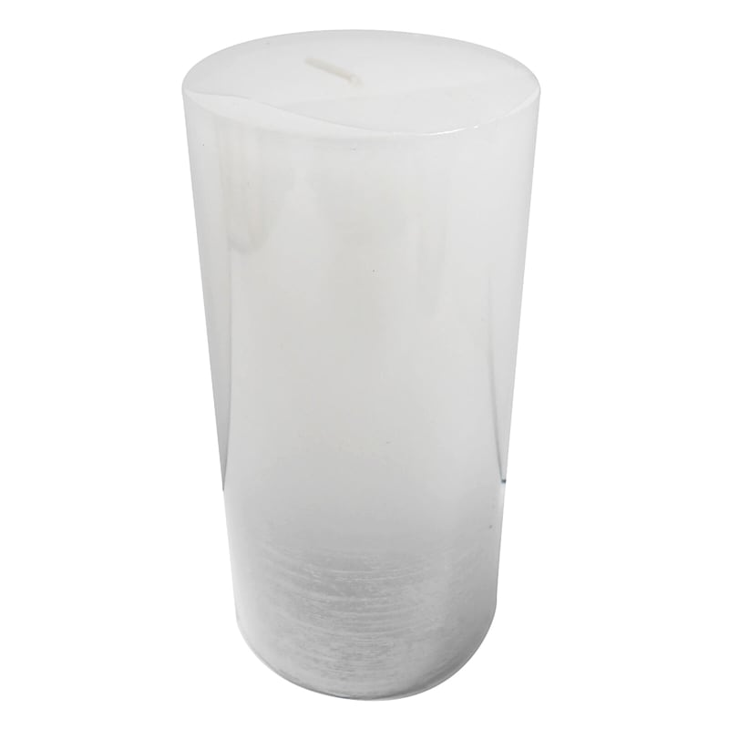 3X6 Distressed Ombre Pillar Candle White/Silver