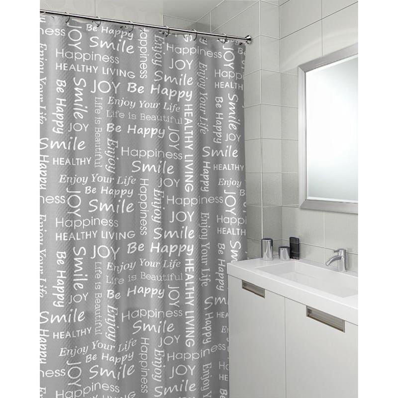 Joy Grey 13-Piece Printed Shower Curtain With Hooks Set