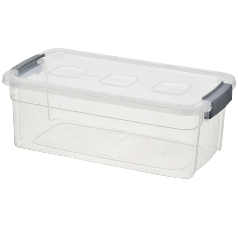 6qt Clear Plastic Tote/Grey Handle