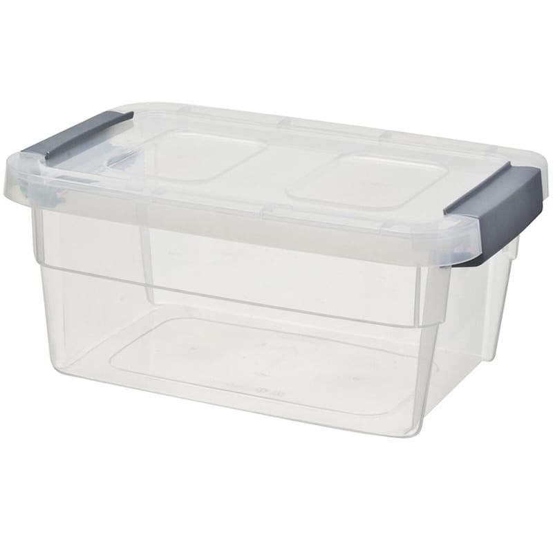 15qt Clear Plastic Tote/Grey Handle