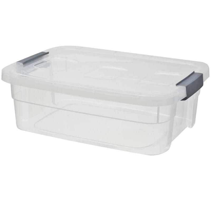 34qt Clear Plastic Tote/Grey Handle