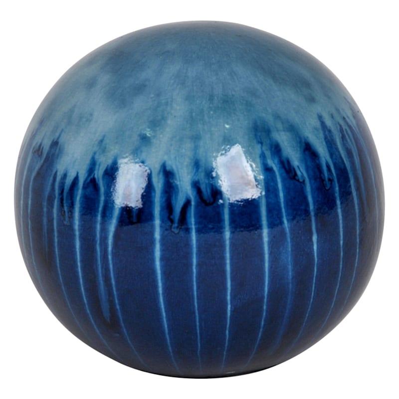 4in. Ceramic Blue Dripped Sphere