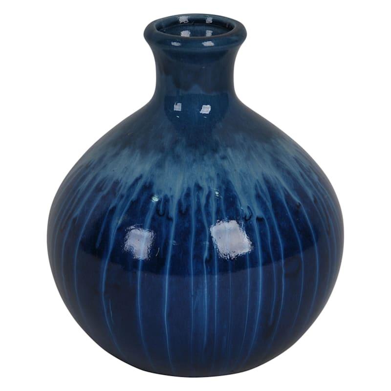 6X7 Ceramic Blue Dripped Vase