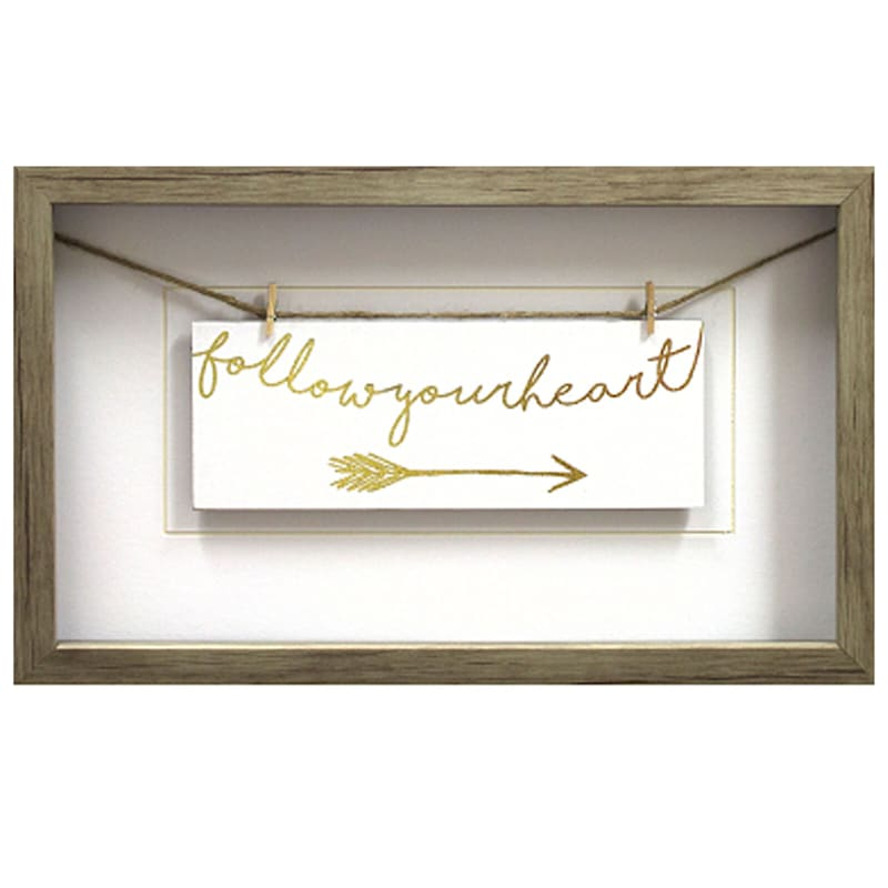 10X16 Follow Your Heart Gold Typography Under Glass Art