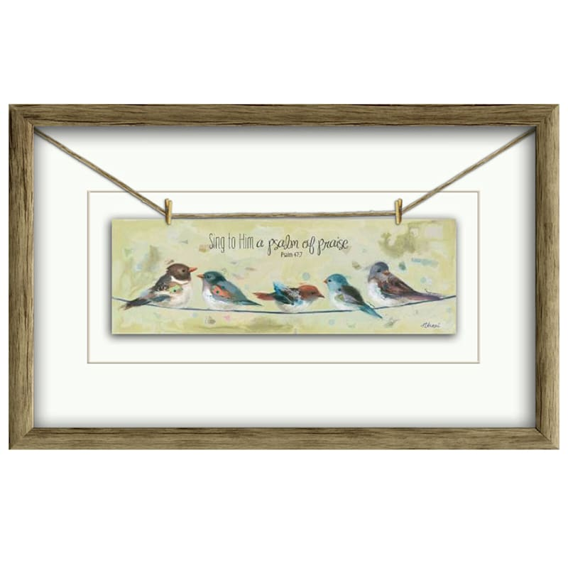 10X16 Psalm Religious Birds On A Wire Under Glass Art